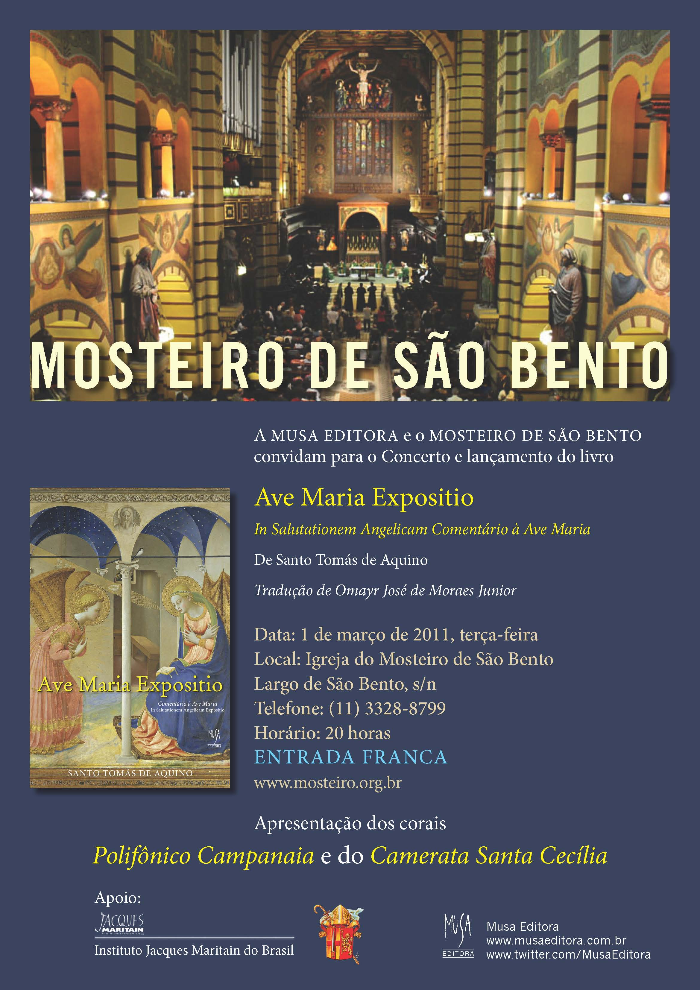 Convite: Lançamento de Ave Maria Expositio e Concerto no Mosteiro de São Bento, dia 1° de março